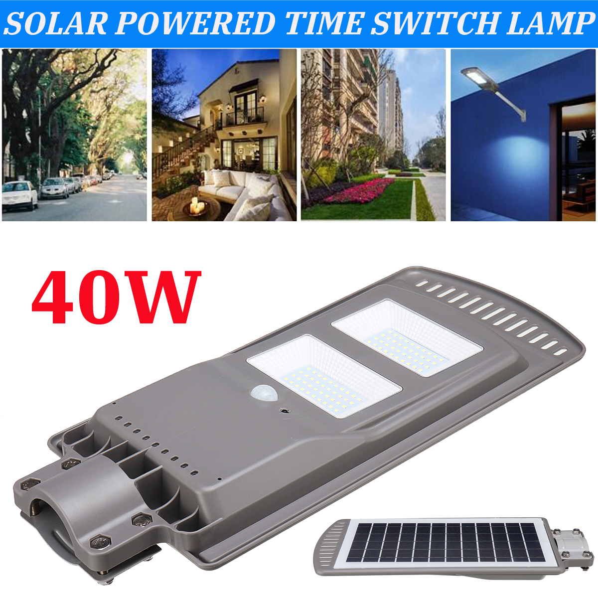 цена на New 40W Solar Powered Panel LED Solar Street Light All-in-1 Time Switch Waterproof IP67 Wall Lighting Lamp for Outdoor Garden