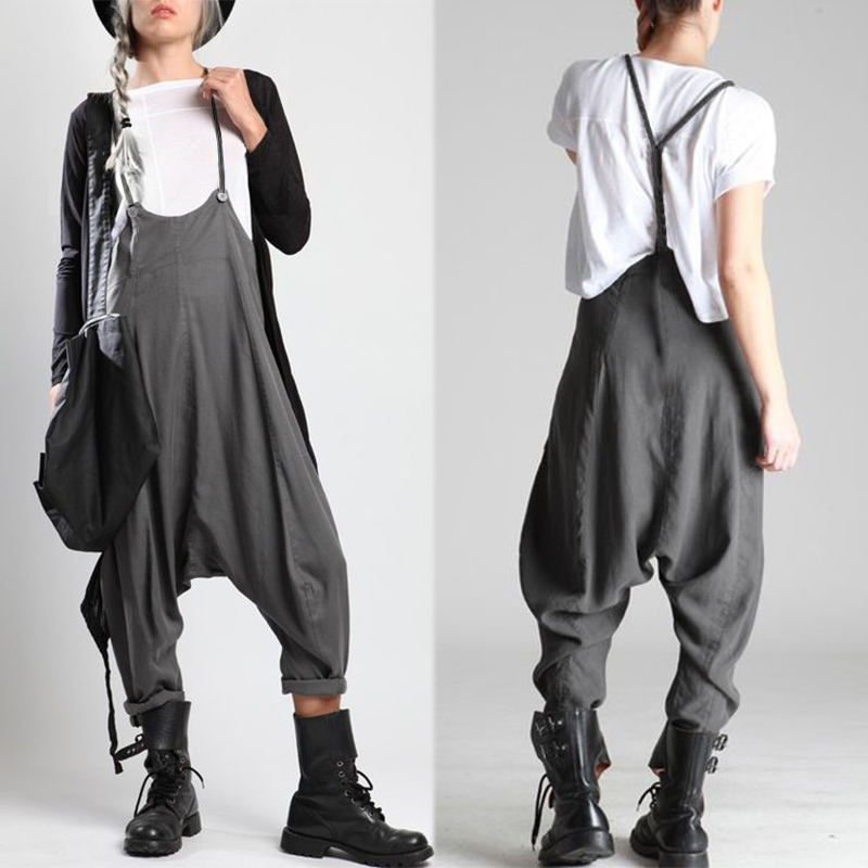 2019 ZANZEA Summer Casual Overalls Women's   Jumpsuits   Drop-Crotch Trousers Femme Suspender Pantalon Playsuits Woman Rompers 5XL