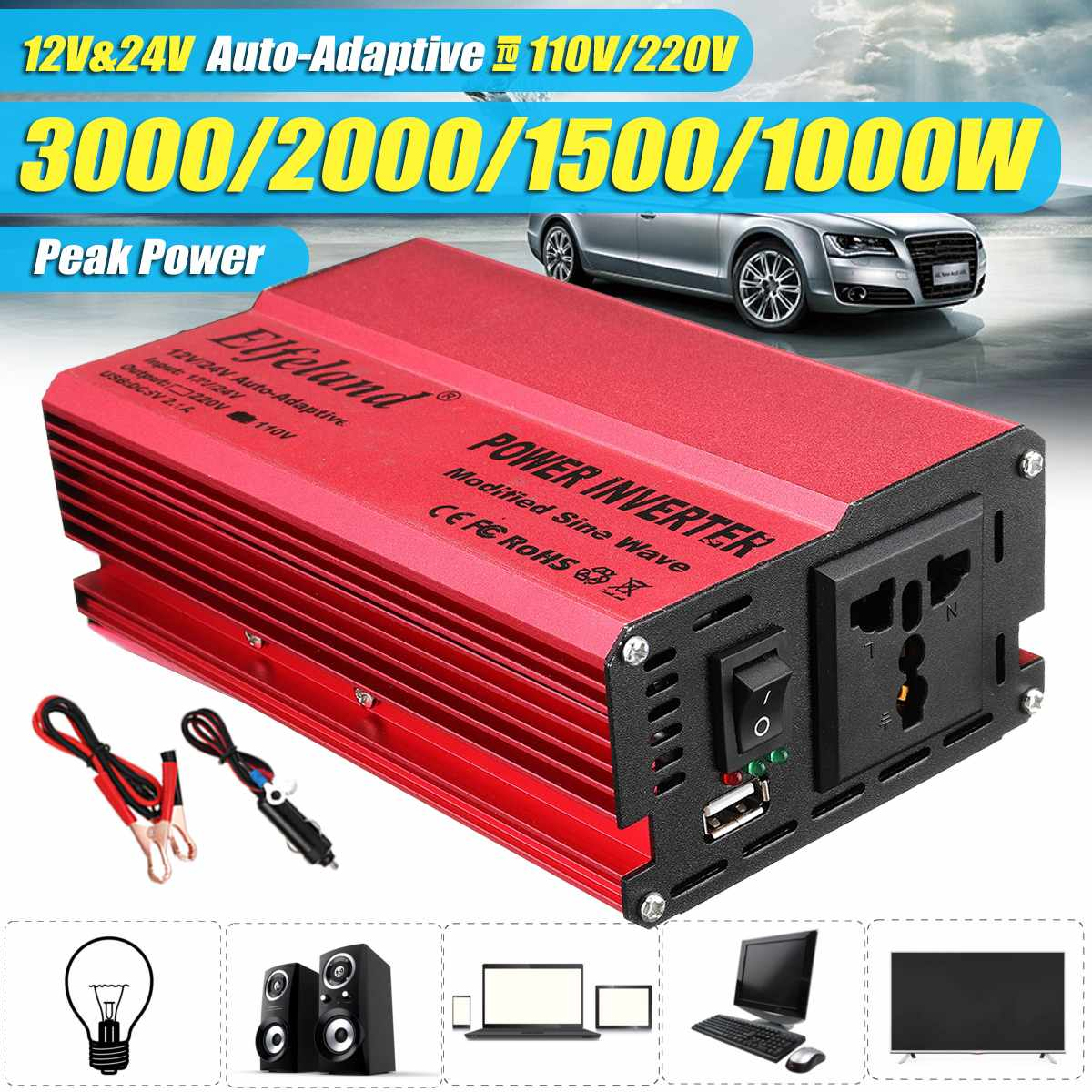 Atv,rv,boat & Other Vehicle 1000w Red Vehicle Dc12v-ac220v Led Power Inverter Converter 4usb Ports Universal Controlador Converters & Inverters