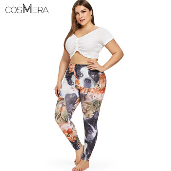 COSMERA Plus Size 5XL 3D Cat Dog Animal Printed Leggings Fitness Leggins Big Size High Waist Jeggings Skinny Legins XXXL XXL