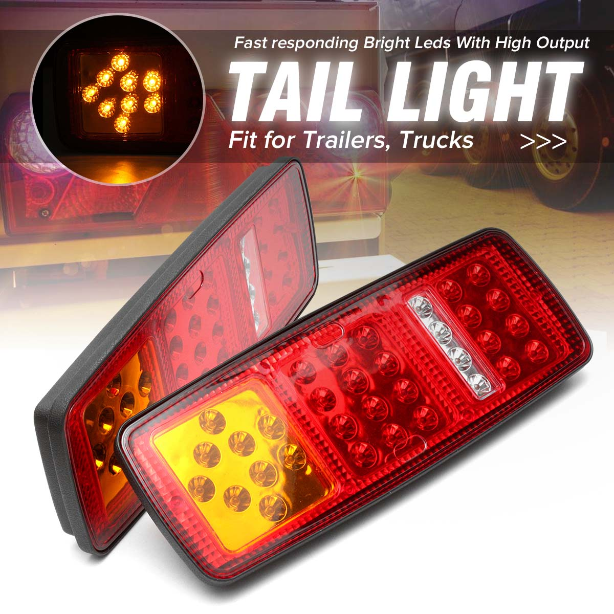 2Pcs 33 LED Trailer Tail Lamp Truck Bus for Van Stop Rear Tail Indicator Lights Reverse Lamp 12V -Waterproof
