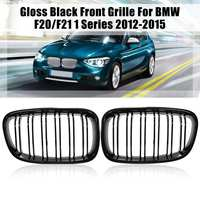 For BMW F20 F21 2011 2013 2014 1 Series Pair Gloss Matte Black Wide Front Kidney Grill Grilles Car Stying Racing Grills