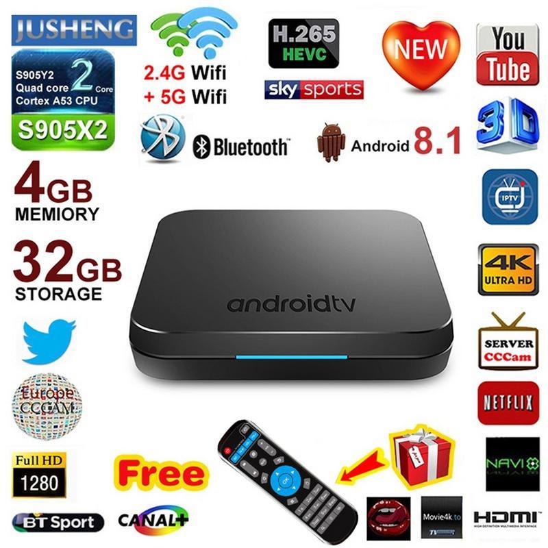 KM9 Android 8.1 TV BOX S905X2 Quad Core ARM Cortex-A53 CPU Réseau Set Top Box 4 gb + 32 gb 4 k WIFI Bluetooth Édition Réseau Lecteur
