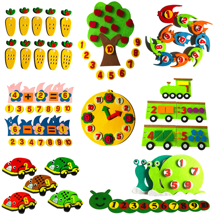 1PC Toys For Children Kindergarten Educational Toys DIY Felt Non-woven Fabric Crafts Kids Montessori Teaching Aids Math Toys