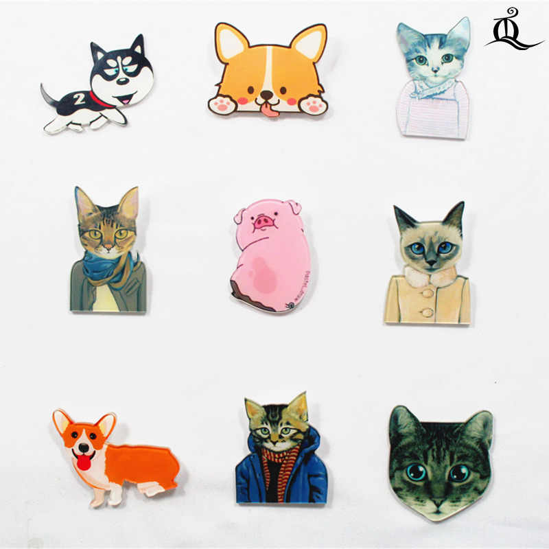 1 PCS Cartoon Badge Pictogrammen op De Pin Acryl Badges Badges voor Kleding Kawaii Broches Pvc Broche, kat hond op doek en zak 61