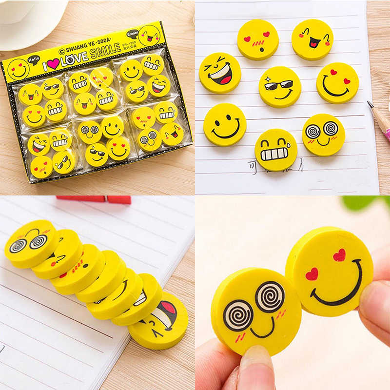 12pcs/Lot Cute Funny Emoji Smile Face Rubber Pencil Eraser Students Stationery Gift