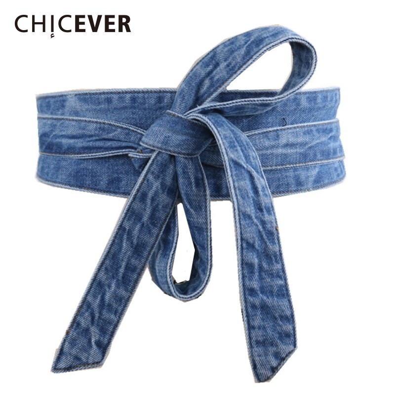 CHICEVER Denim Wide Belt Female Bow Lace Up Bandage Corset Women's Belt For Dresses Accessories Korean Fashion Elegant Tide 2019