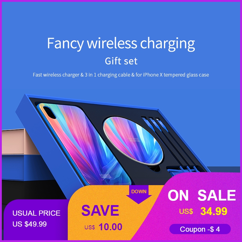 Nillkin Fortune Gift Pack Qi Wireless Charging Pad + 3 in 1 USB Charging Cable + Phone Case for iPhone X 5.8'' Support Customize