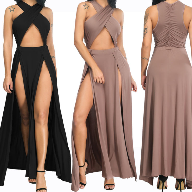 U-SWEAR Women Sexy Dress Spaghetti Strap Sleeveless Solid Sexy Cross Bodycon 2018 Summer Bandag Dress Vestidos De Fiesta