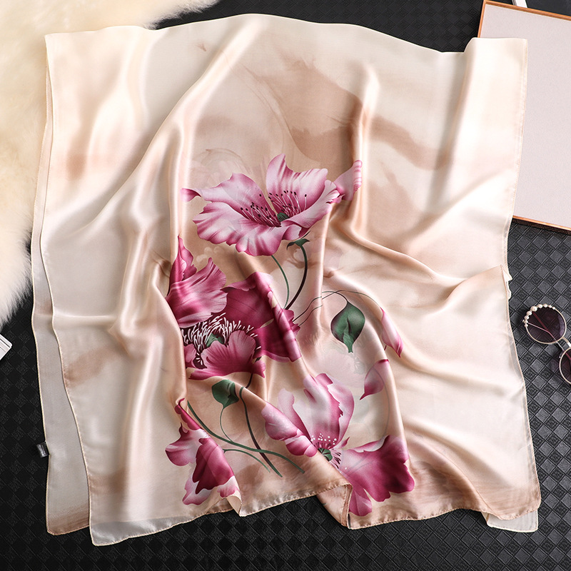 Floral printed silk scarf for women large pashmina spring summer shawls and wraps elegant lady winter scarves hijab bandana in Women 39 s Scarves from Apparel Accessories