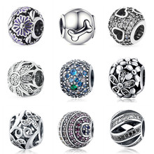 Aliexpress New 100% 925 Sterling Silver 925 charm Beads Fit Authentic European Bracelet Clear CZ Stone pendant DIY Jewelry gift