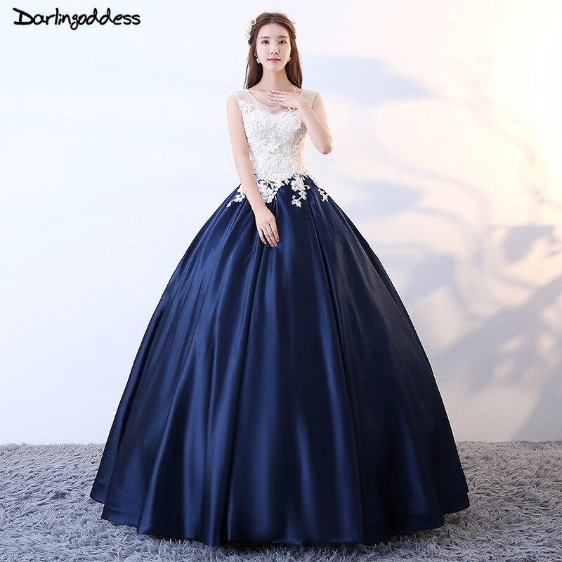 Robe De soirée longue 2018 bleu marine Robe De bal robes De grande taille De soirée dentelle robes formelles Satin longue Robe De bal Robe arabe