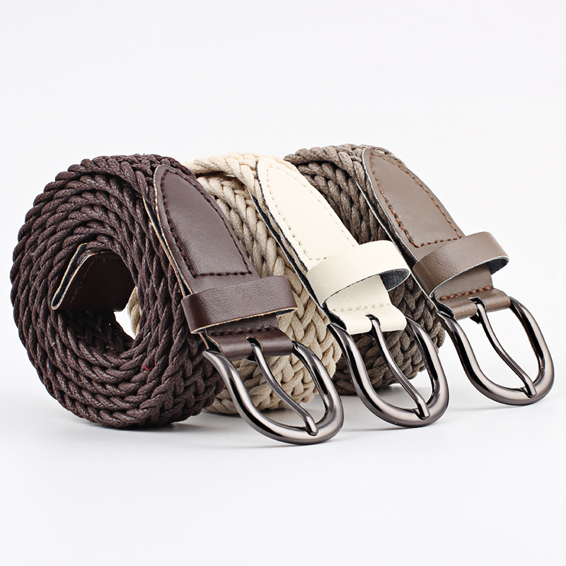 Women Leather Thin Waist Belt Lace Up Solid Candy Colors Hemp Rope Braid Belt Female Belt For Dress ## To Have Both The Quality Of Tenacity And Hardness Apparel Accessories