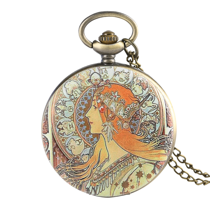 Elegant Beauty Side Face Design Quartz Pocket Watch Retro Pendant Jewelry Necklace Sweater Chain Hour Clock For Women Girls