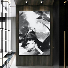 Free Shipping Big Size New Design 100%Hand-painted Modern Black and White Oil Painting on Canvas Art for home Decor