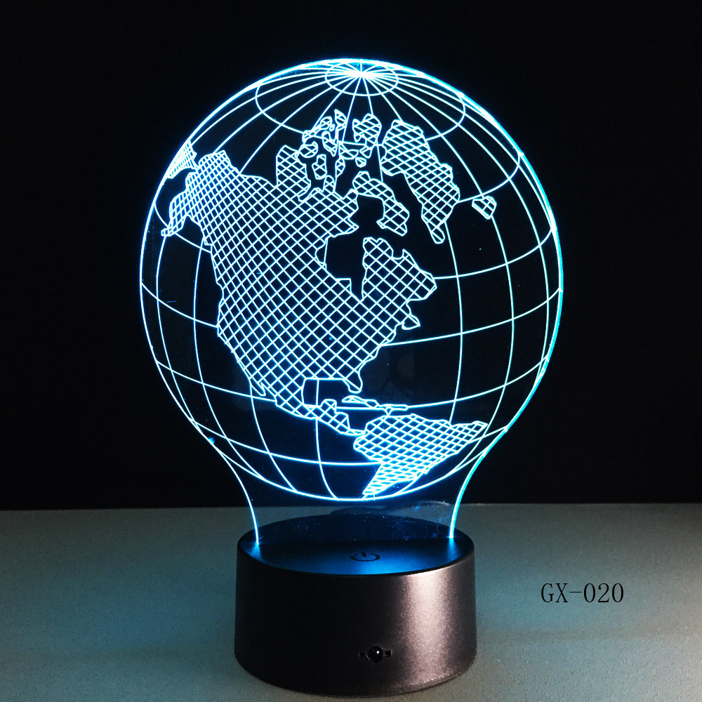 USA Earth Map Light 3D LED Lamp Featuring 3D Wire Images Earth Globe Lamp Handmade Color Changing Lamp 3D Decor Lamps GX-020 image
