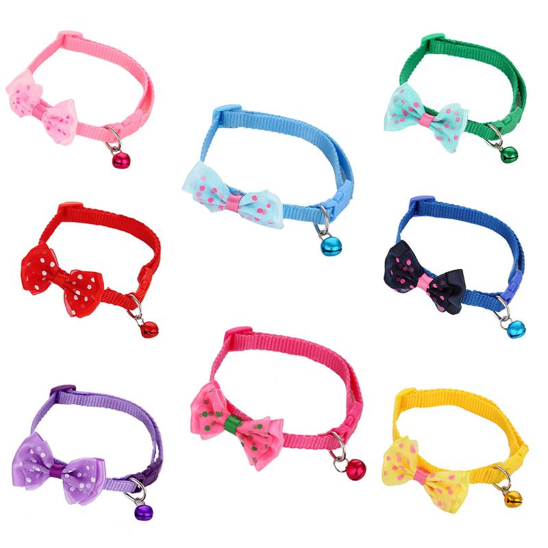 Cat Dog Collar With Bell Dog Pet Glossy Reflective Collar Safety Buckle Bell Strap 8 Colors Adjustable Strap Puppy Pet Supplies