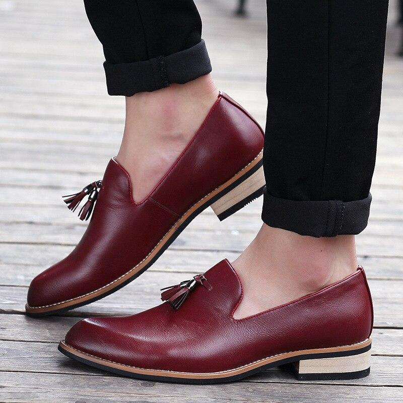 on Britannique Brown De Chaussures light Black Confortable Mocassins Casual red Haute Luxe Qualité Robe Cuir Slip Mariage Homme En Oxford U7nFwzE5qx