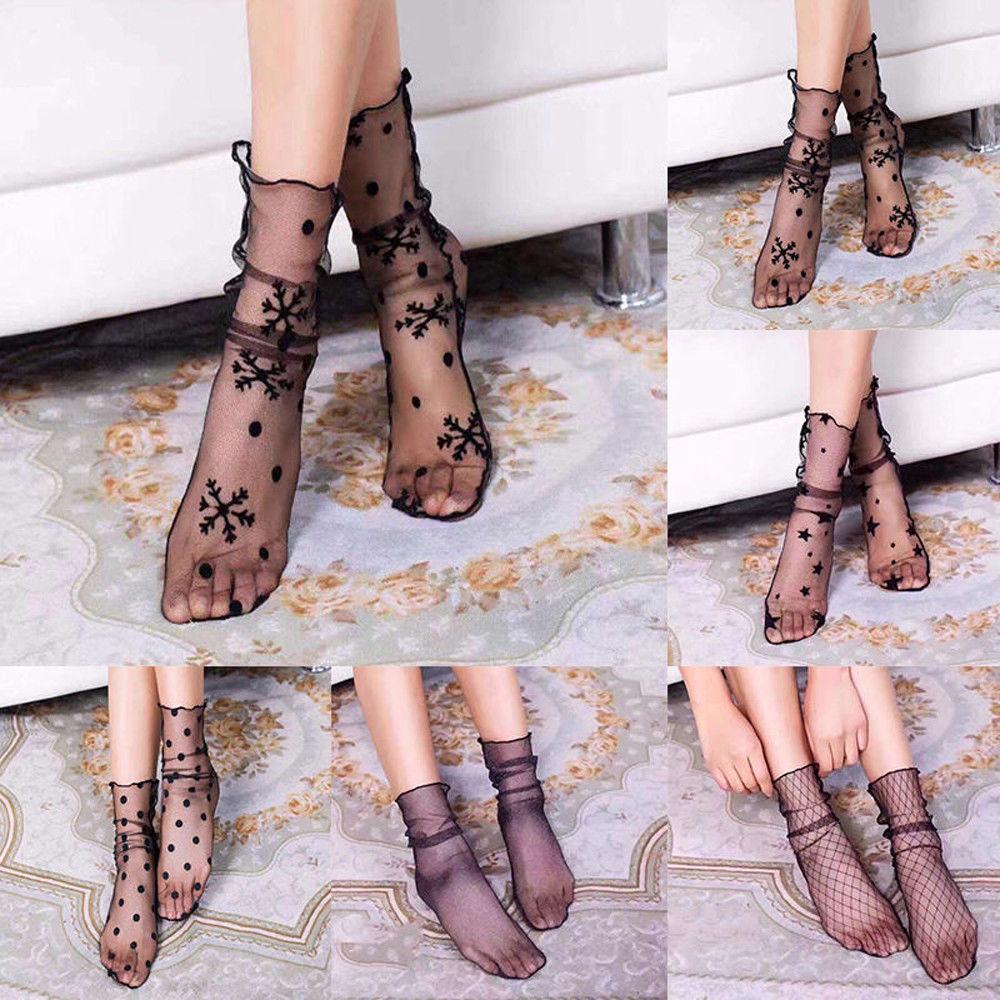 Women Transparent Ultrathin Sheer Mesh Ankle Hosiery Lace Fishnet Socks Fashion