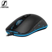 SeenDa ratón de juego profesional con cable RGB, 7 botones, 4000 DPI, LED, ergonómico, óptico, para PC, ordenador, portátil