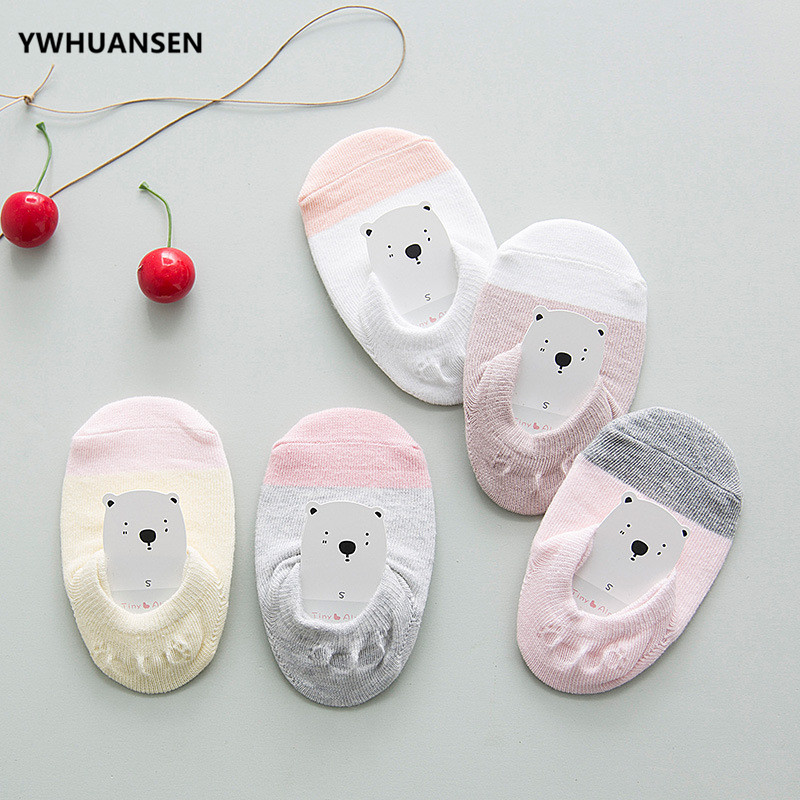 YWHUANSEN 5 Pairs/lot Summer Children's Short Socks Cotton Thin Non Skid Boys Lovely Socks With Grips For Baby Toddler Girls