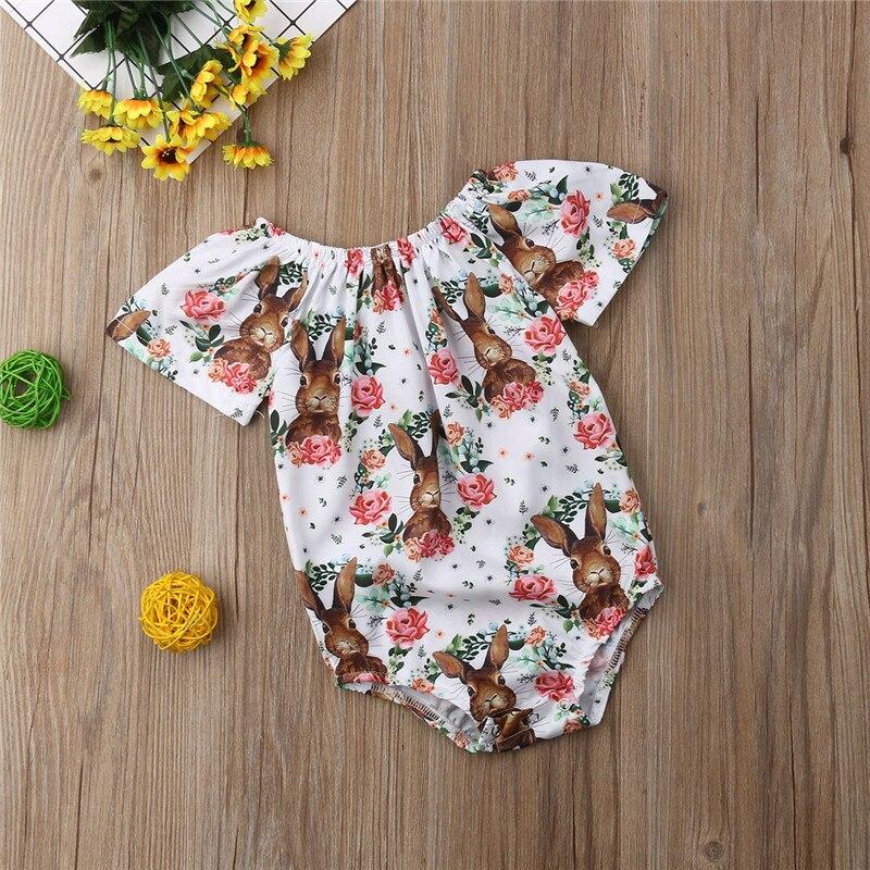 Newborn Kids Baby Girls clothes animal Flowers print round neck Jumpsuit short sleeve Toddler cotton lovely Bodysuit one pieces