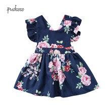 Pudcoco/ летнее праздничное платье с короткими рукавами и открытой спиной для маленьких девочек