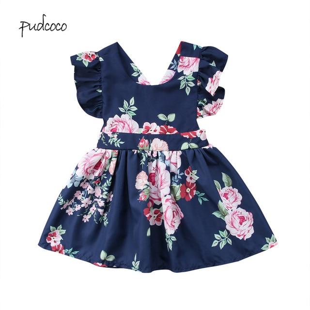 Pudcoco 2019 פעוט ילדי תינוק בנות פרח קיץ המפלגה ללא משענת קצרה שרוול שמלה