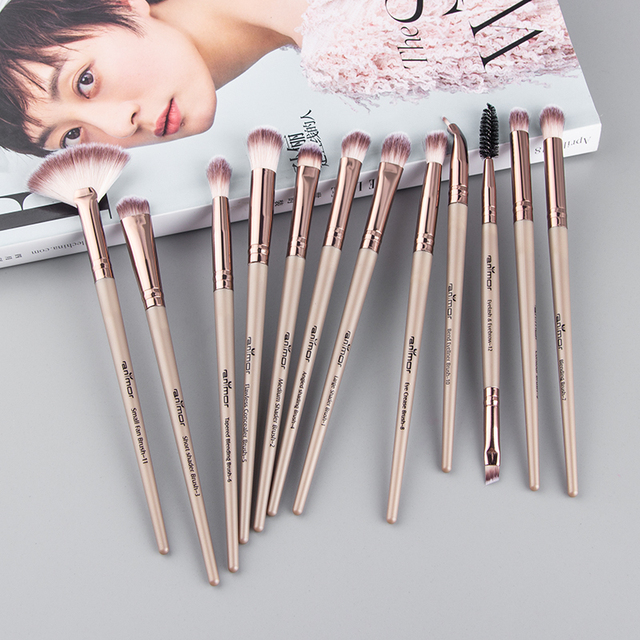Anmor Pro Makeup Brushes Set 12 pcs/lot Eye Shadow Blending Eyeliner Eyelash Eyebrow Brushes For Make up Portable Eye Brush Set
