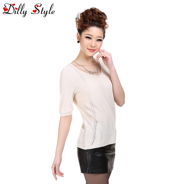 New Women Casual Cashmere Sweater V-Neck Half Sleeve Solid Pullovers Knitted Women Super Soft Silk Cashmere Sweaters-DL1201