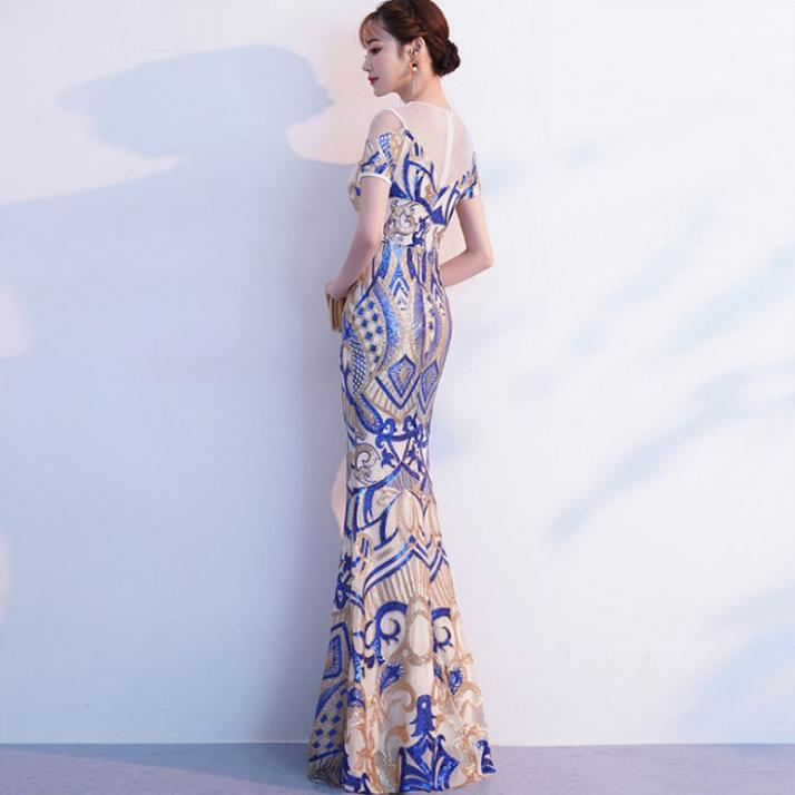 Image 2 - BANVASAC O Neck 2018 Sequined Mermaid Long Evening Dresses Party Lace Short Sleeve Illusion Zipper Back Prom Gowns-in Evening Dresses from Weddings & Events