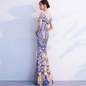 Image 2 - BANVASAC O Neck 2020 Sequined Mermaid Long Evening Dresses Party Lace Short Sleeve Illusion Zipper Back Prom Gowns