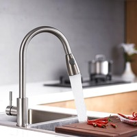 Kitchen Faucets Brushed Single Handle Pull Out Kitchen Tap Single Hole Handle Swivel 360 Degree Water Mixer Tap Mixer Tap