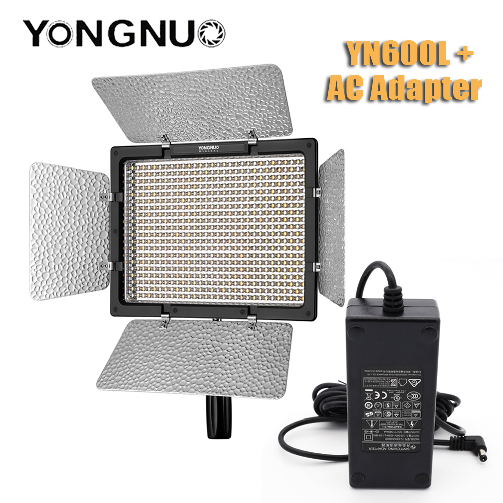 YONGNUO <font><b>YN600L</b></font> YN600 L 600 LED Video Light with AC power adapter Panel LED Photography lights Wireless 2.4G Remote APP Remote image