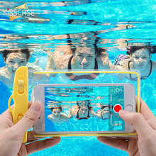 KISSCASE Waterproof Phone Case For Samsung Galaxy S10 S9 Plus Luminous Underwater Bag Case For iPhone X XS Max XR Summer Cover(China)