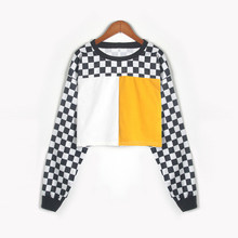 New Checkerboard Pullover Sweatershirt With Contrast Color Patchwork Shirt(China)