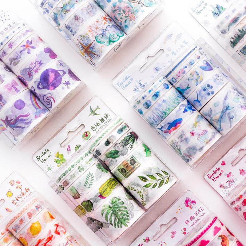 10Pcs Cute Alpaca Washi Tape Set Kawaii Masking Tape Fantasy Decorative Adhesive Tape For Kids Scrapbooking Diary Photos Albums