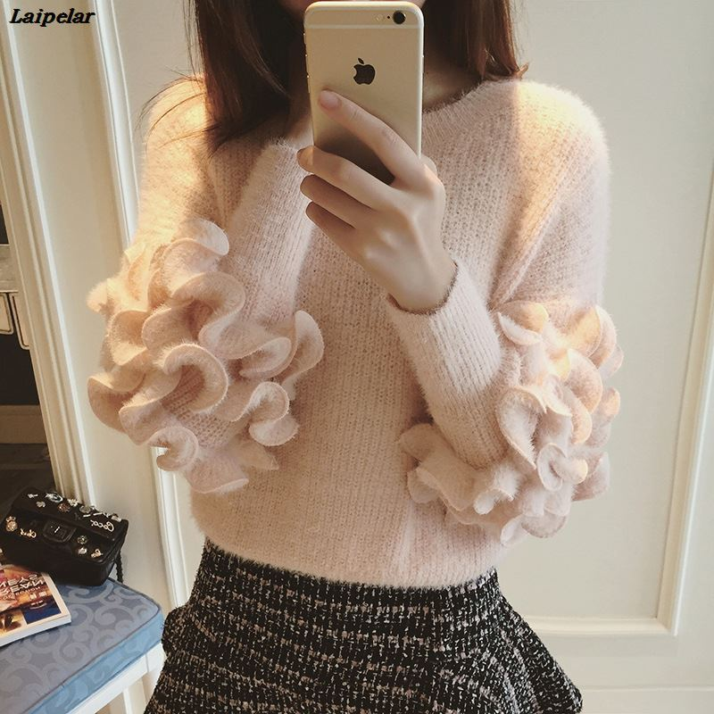 Cute Candy Color 3D Ruffles Mohair Sweater O Neck Long O Neck Sleeve Elegant Knit Bottoming Pullover Cropped Sweater Tops 2018 in Pullovers from Women 39 s Clothing