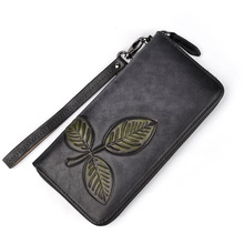 2019 Wallet Women Purse Real Leather Brand Designer Long Wallet Plant Clutch Wallets Female Bag Ladies Vintage Carteira Feminina