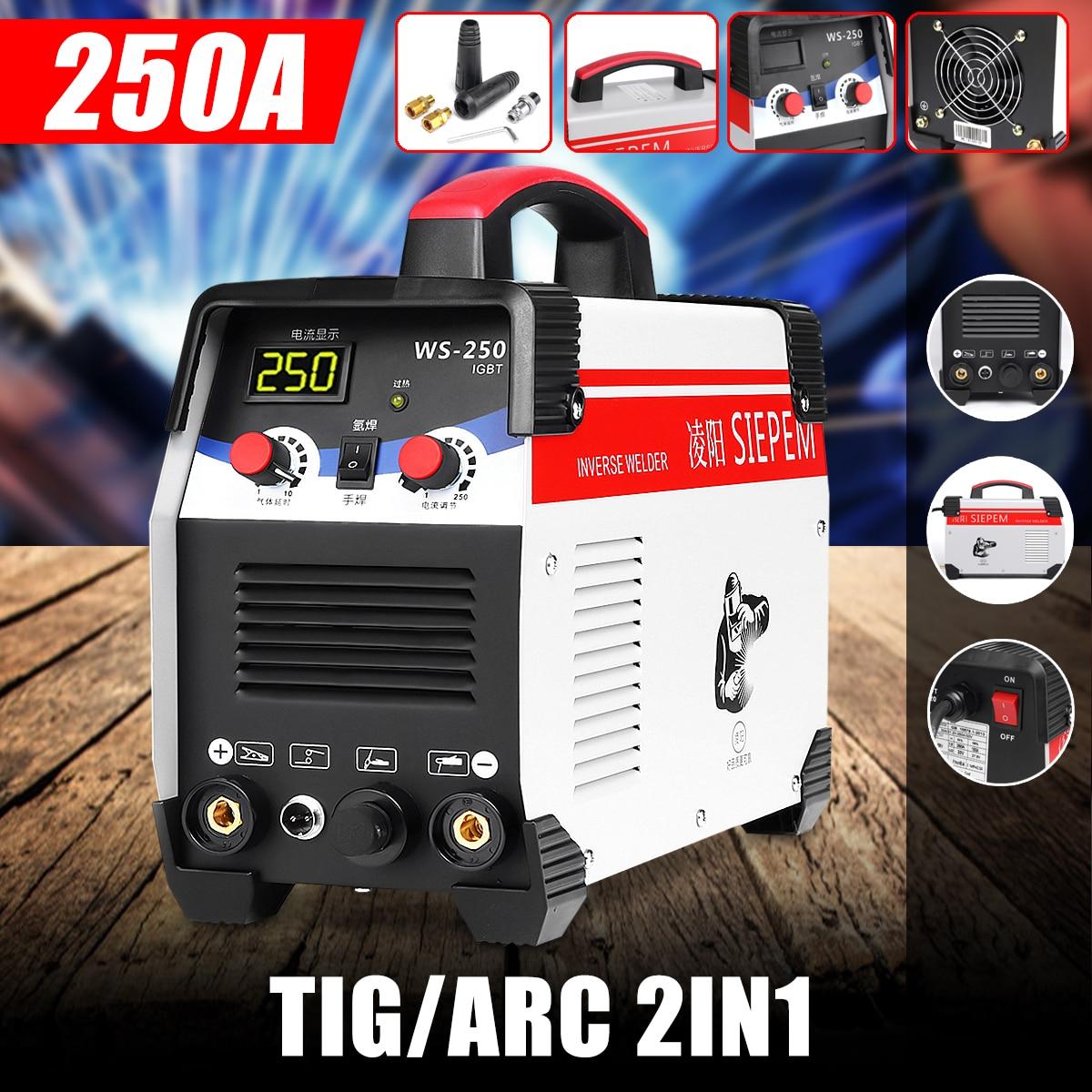 2In1 ARC/TIG Do Inversor IGBT Máquina de Solda a Arco Elétrico 220 V 250A MMA Soldadores para a Soldagem de Trabalho De Trabalho Elétrico ferramentas de poder