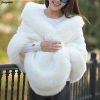 Elegant Woman Short Faux Fox Fur cloak Cashmere Shawl Winter Scarves Wraps Mink Fur Cape Shawls Basic Pashmina Party coats