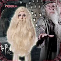 OHCOMICS HP Harri Potter Hogwarts Gryffindor Albus Dumbledore Mens Wig Hair Long Hair White Periwig Costume Cosplay Prop Party
