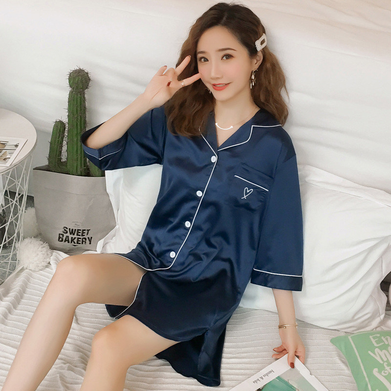 2019 Summer Women Silk Nightshirts Nightdress Satin V-neck Sleepwear Sexy Lingerie   Nightgowns   Embroidery Satin   Sleepshirts