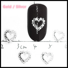 40Pcs Heart Nail Art Decorations 3d Kawaii Gold Silver Studs Hollow Charms Manicure Jewelry Bling Metal Nailart Ornaments for
