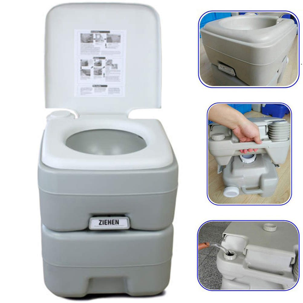 20L Portable Toilet Flush Outdoor Indoor Pedestal Pan Potty Commode Closestool For Travel Camping Hiking Boating (White)