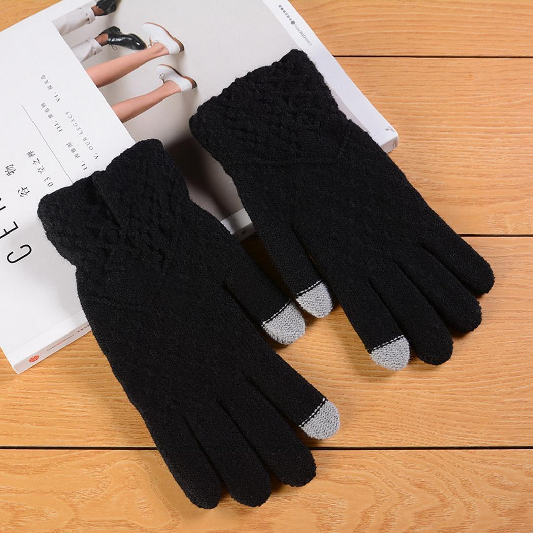 Women Fashion Wool Knitted Gloves Warm Wrist Casual Winter Solid Touch Screen Mittens