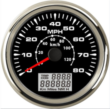 все цены на 85mm 9-32V Gps Speedometer 0-80mph 0-120km/H Trip COG 7 Colors Lights Stainless Steel +Anti-Fog Glass For Car Boat Modification онлайн
