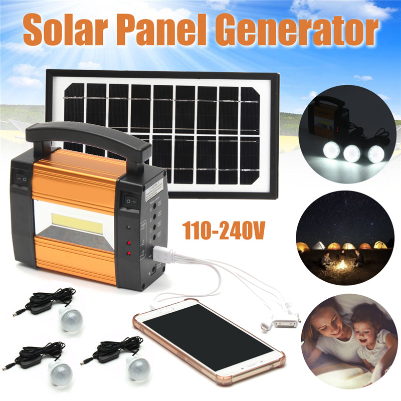 Solar Charger Panel Storage Power Generator LED Lighting System USB Charger 3 LED Bulbs Solar Charger Powerful Generator