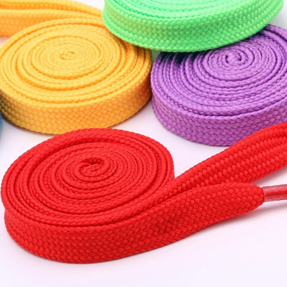 Cheap 1 Pair 100cm Shoelace Flat Popular Sports Shoes Laces Casual Canvas Polyester Shoelaces Candy Color White Green Shoelace