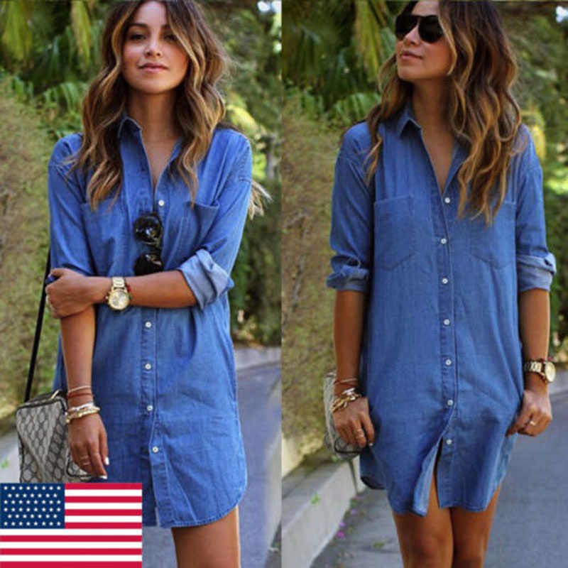 2019 Merek Baru Fashion Hot Wanita Blue Jeans Denim T-shirt Lengan Panjang Kasual Longgar Gaun Mini